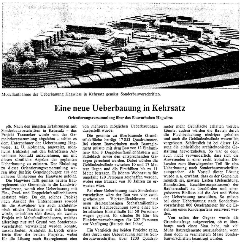 1969.03.28 - Der Bund - Überbauung Hagwiese