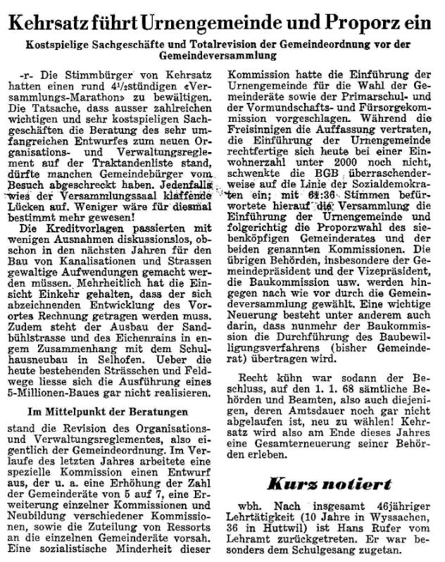 1967.03.30 - Der Bund - Einführung Urnenwahl
