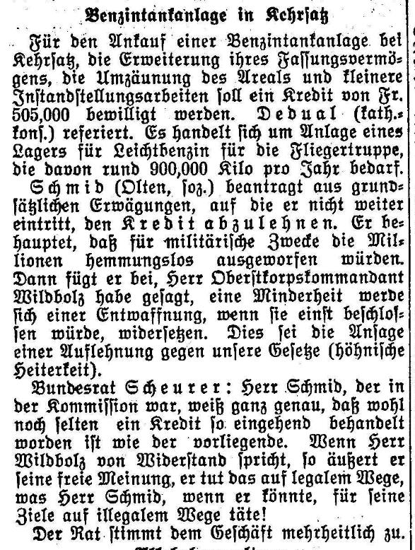 1928.06.22 - Der Bund - Benzintankanlage in Kehrsatz