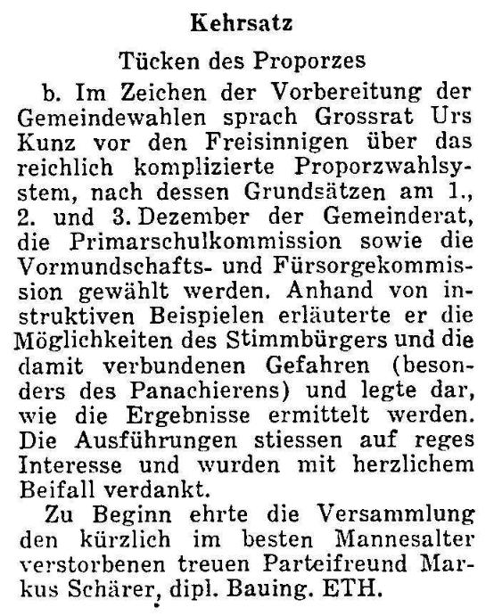 1967.11.28 - Der Bund - Tücken der Proporzwahl