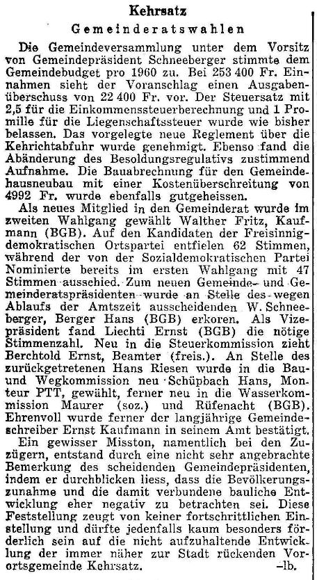 1960.01.01 - Der Bund - Gemeinderatswahlen
