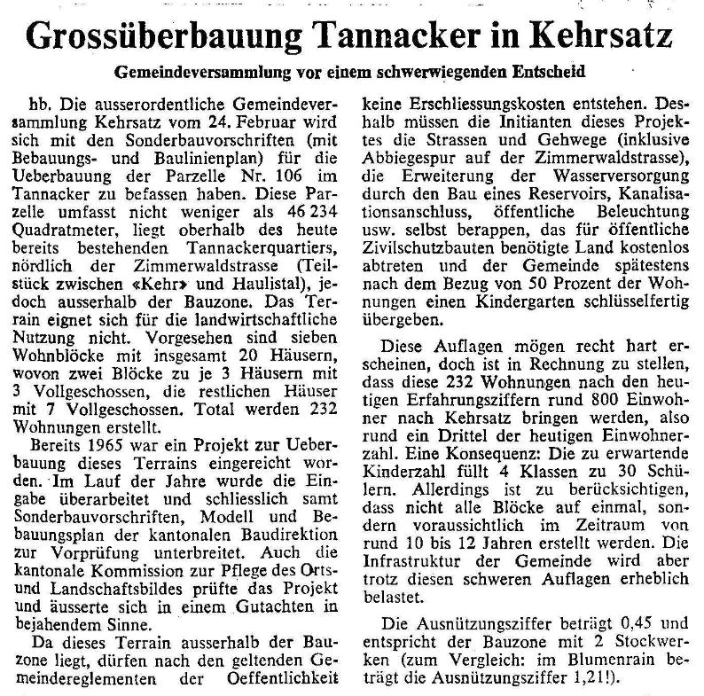 1969.02.16 - Der Bund - Grossüberbauung Tannacker