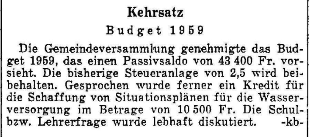 1959.01.04 - Der Bund - Gemeindeversammlung