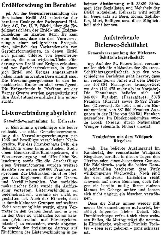 1967.07.02 - Der Bund - Gegen Listenverbindungen