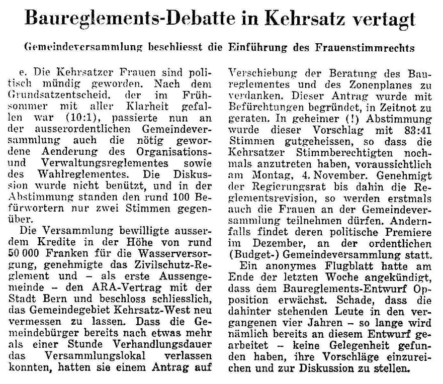 1968.10.23 - Der Bund - Frauenstimmrecht eingeführt