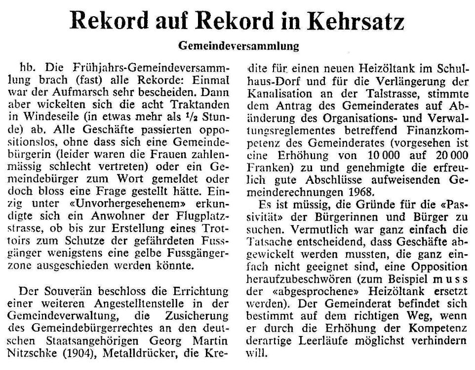 1969.06.12 - Der Bund - Rekord in Kehrsatz