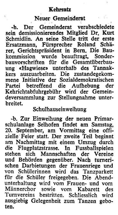 1969.09.21 - Der Bund - Neuer Gemeinderat