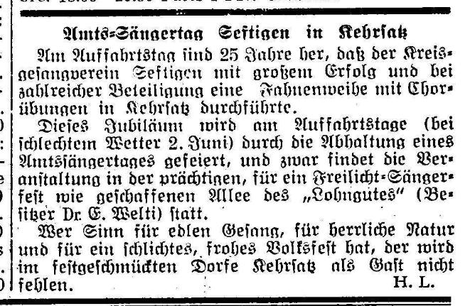 1935.05.30 - Der Bund - Amtssänger-Tag