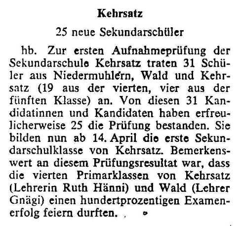 1969.03.25 - Der Bund - 25 neue Sek-Schüler