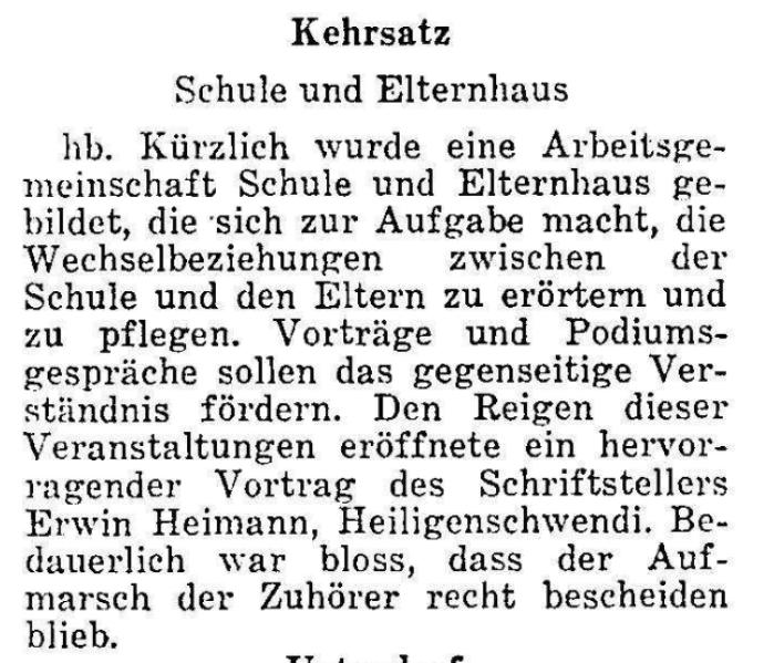 1967.11.06 - Der Bund - Schule und Elternhaus