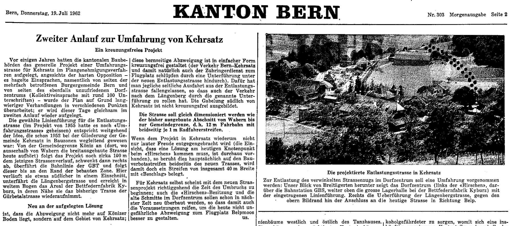 1962.07.19 - Der Bund - Umfahrung Kehrsatz
