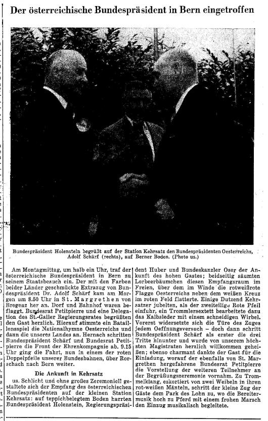1958.05.13 - Der Bund - Österreich Präsident zu Besuch