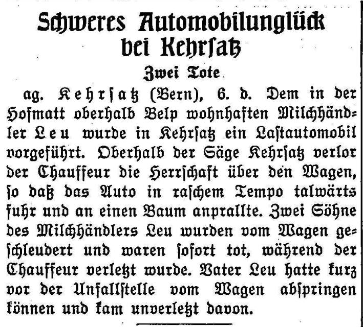 1926.07.07 - Der Bund - Schwerer Unfall