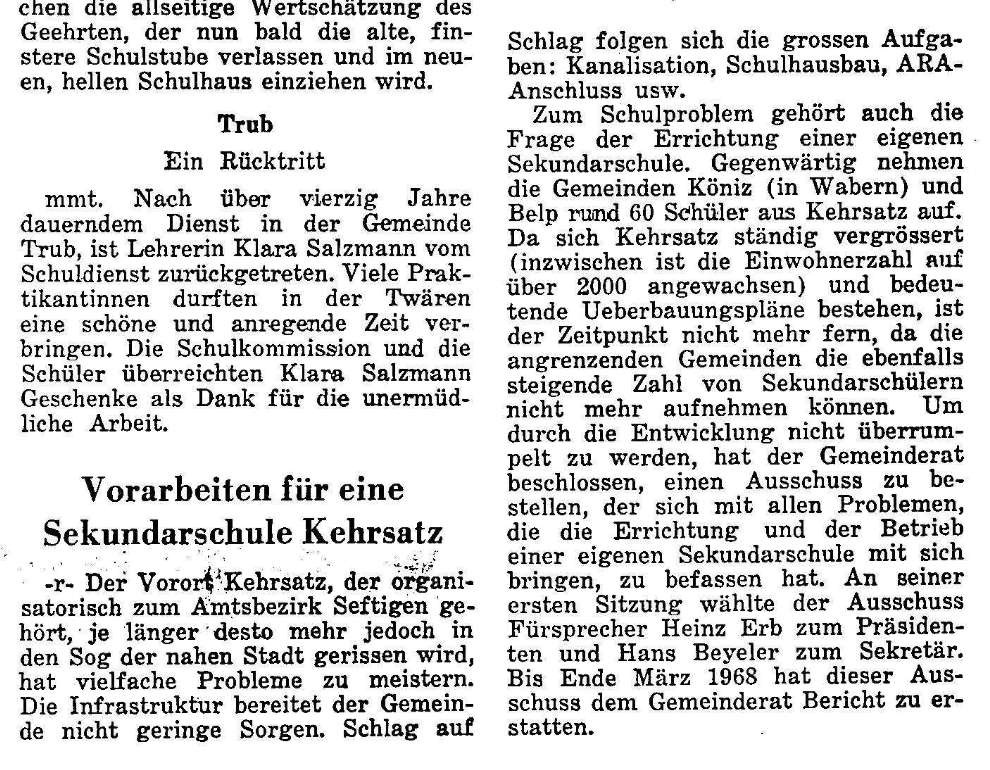 1967.09.15 - Der Bund - Vorbereitungen Sek