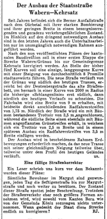 1953.05.07 - Der Bund - Ausbau Strasse