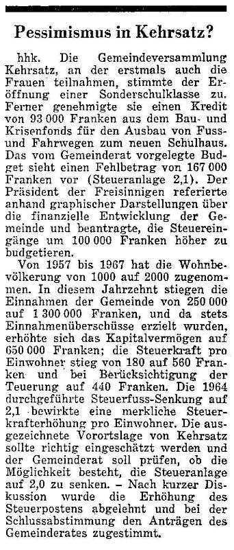 1968.12.24 - Der Bund - Pessimismus in Kehrsatz