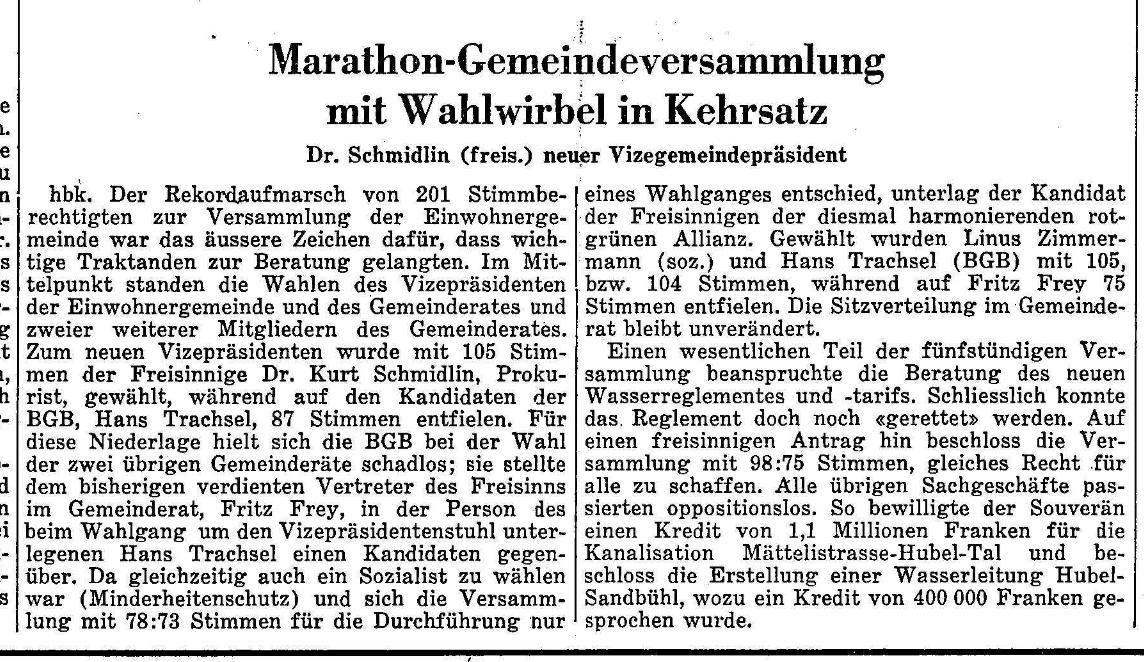 1966.01.27 - Der Bund - Gemeindeversammlung