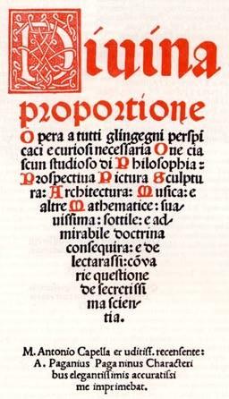Титульные страницы книги Луки Пачиоли «Divina Proportione» (1509)