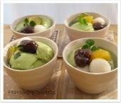 柚子ソース添え抹茶ババロア