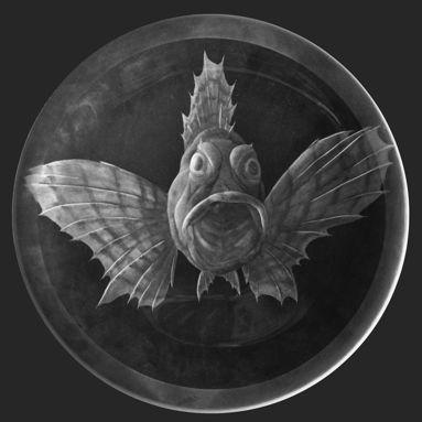 Teller Schmetterlingsfisch Gravur ca. 29 cm