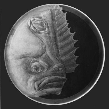 Teller Plattfisch Gravur  Dm 29 cm