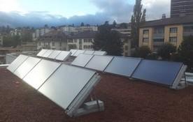 Solarthermie Flachdach Anlage von bern.solar