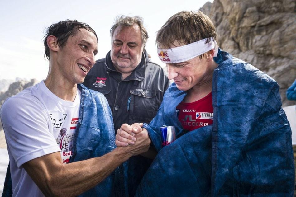 Wings for Life Botschafter Michael Kurz und Andreas Goldberger mit Werner Grissmann #DOLOMITENMANN. RedBull©PhilipPlatzer
