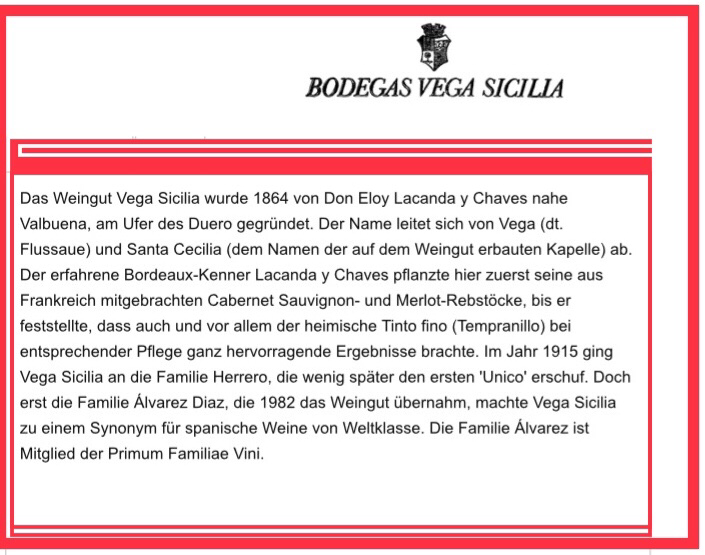 """Familie Alvarez Diaz machte """" VEGA SICiLLiA"""" zu einem Synonym für Spanische Weine von Weltklasse."""