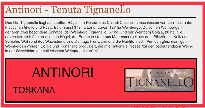 """Tignanello un Solaia werden von den gleichnamigen Weinbergen produziert, die internationale Presse """"zu den bedeutendesten Weine in der Geschichte italienischen Weinproduktion"""" zählt."""