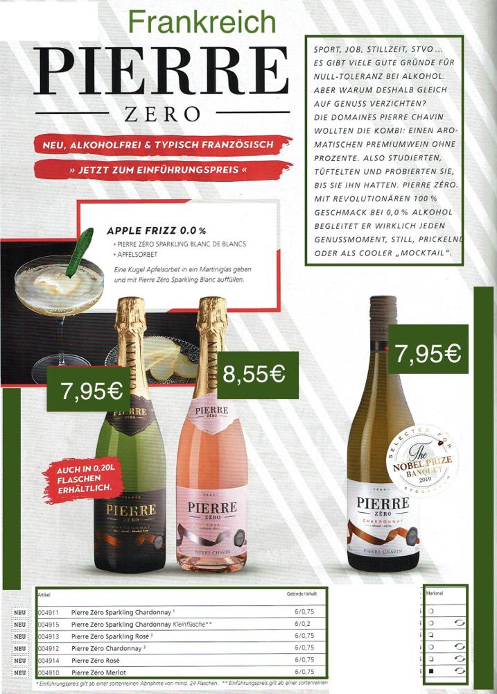 Alkoholfreie Weine&Sekte- Pierre Zero-Frankreich