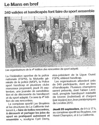 Article Ouest France - 18 septembre 2014 -