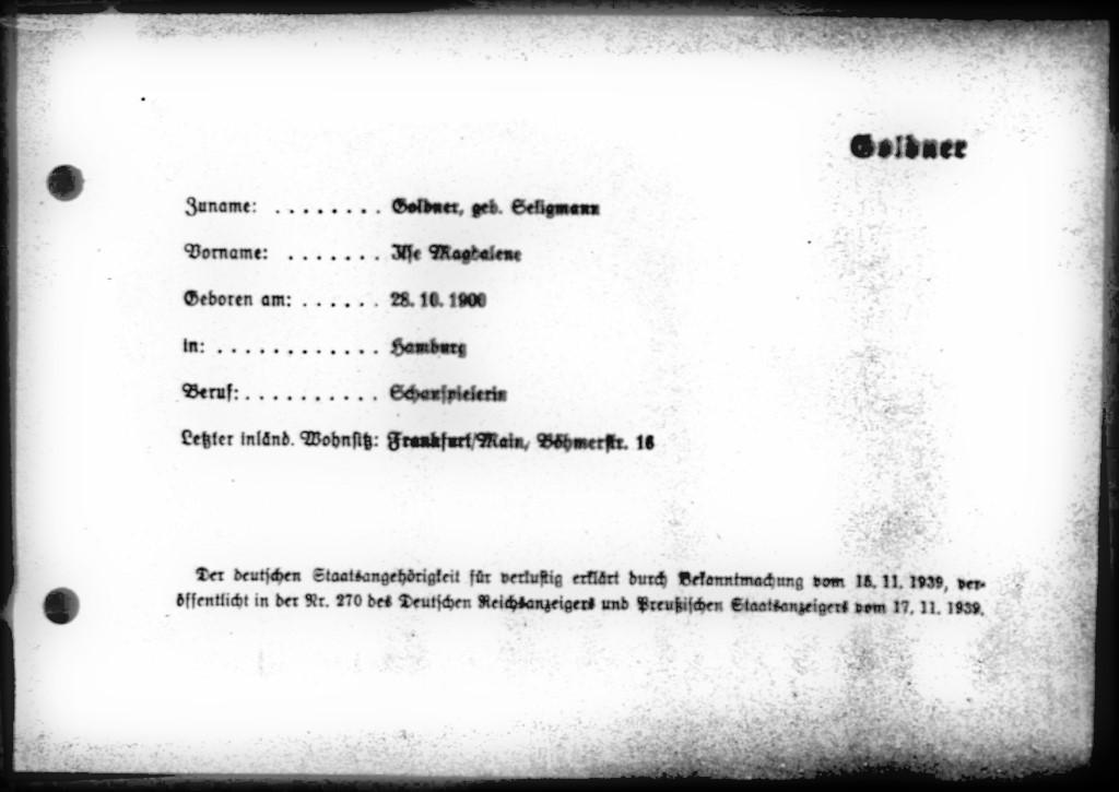 15.11.1939 Ilse Ziegellaub wird als Ilse Goldner ausgebürgert