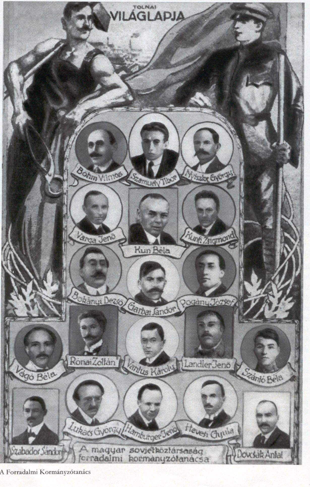 Räteregierung 1919. Jennö Varga links v. Béla Kun (gemeinfrei)