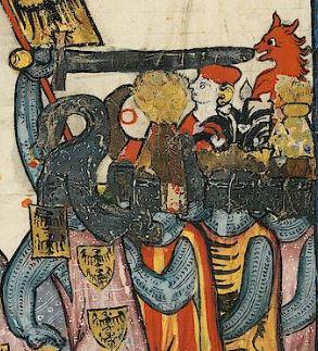 Verschiedene Helmzierden. Bild: Universität Heidelberg,  Cod. Pal. germ. 848 Große Heidelberger Liederhandschrift (Codex Manesse) — Zürich, ca. 1300 bis ca. 1340, 43v. Public Domain.