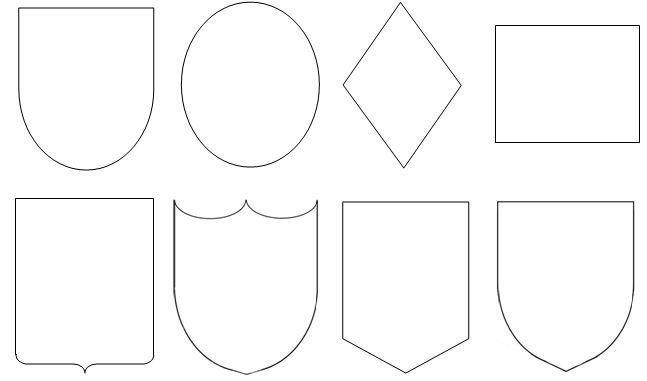 Verschiedene Schildformen für Wappen. Bild: Karin Lackner