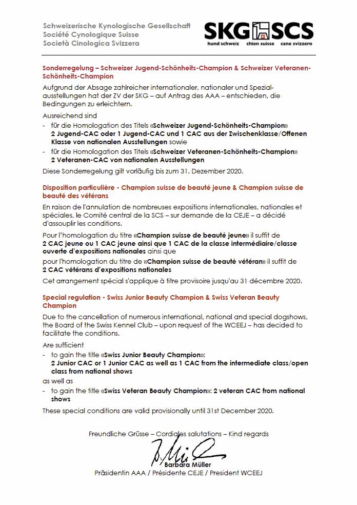 Sonderregelung – Schweizer Jugend-Schönheits-Champion & Schweizer Veteranen-Schönheits-Champion