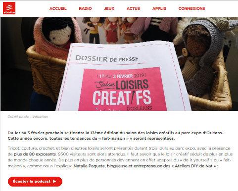 Article paru sur Vibration.fr titre : SALON DES LOISIRS CRÉATIFS À ORLÉANS