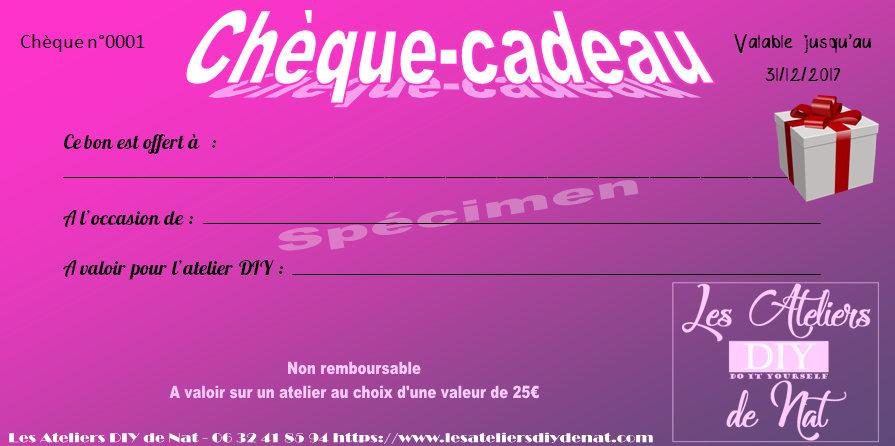 Chèque Cadeau Ateliers Diy