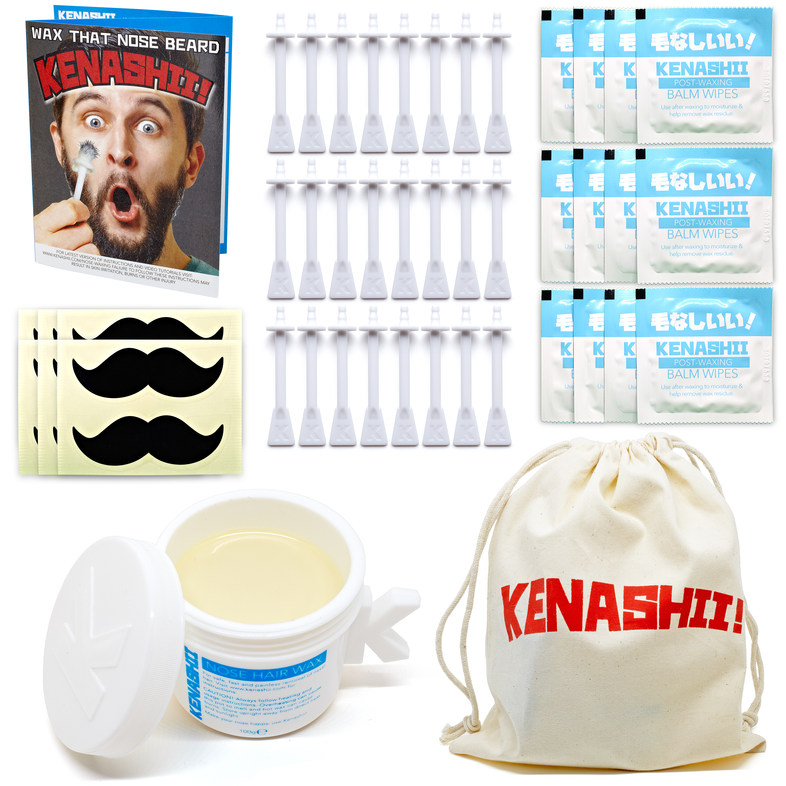 Contents of Kenashii Nose Waxing Kit, 100g of Specially formulated wax, 20 Applicator Sticks, 10 Balm Wipes and Instructions