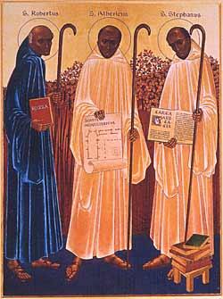 I tre Padri Fondatori dell'Ordine Cistercense: San Roberto di Molesme, Santo Stefano Harding, Sant'Alberico