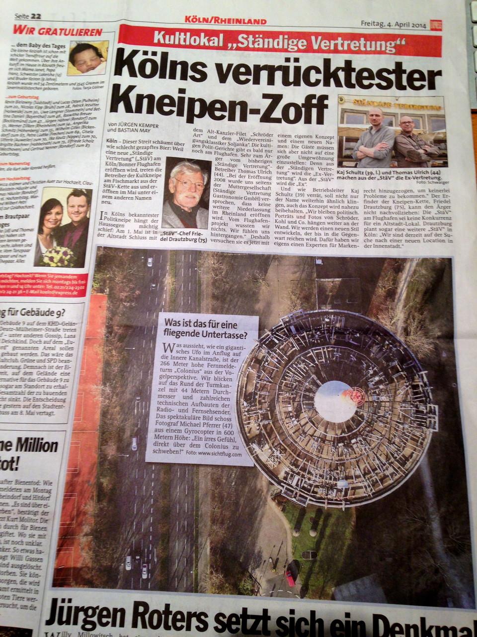 Manche Bilder schaffen es bis in die Zeitung: Kölner EXPRESS vom 04.04.2014