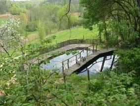 Mare pédagogique à deux bassins séparés par une passerelle, au sein du Jardin de Paradis