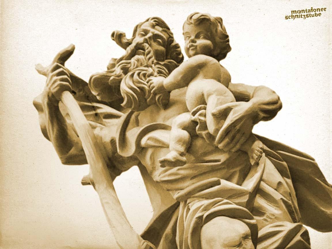 Christophorus das Jesuskind tragend, Lindenholz, natur