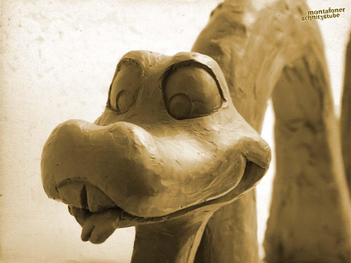 Schlangenkopf, Modell aus Modelliermasse