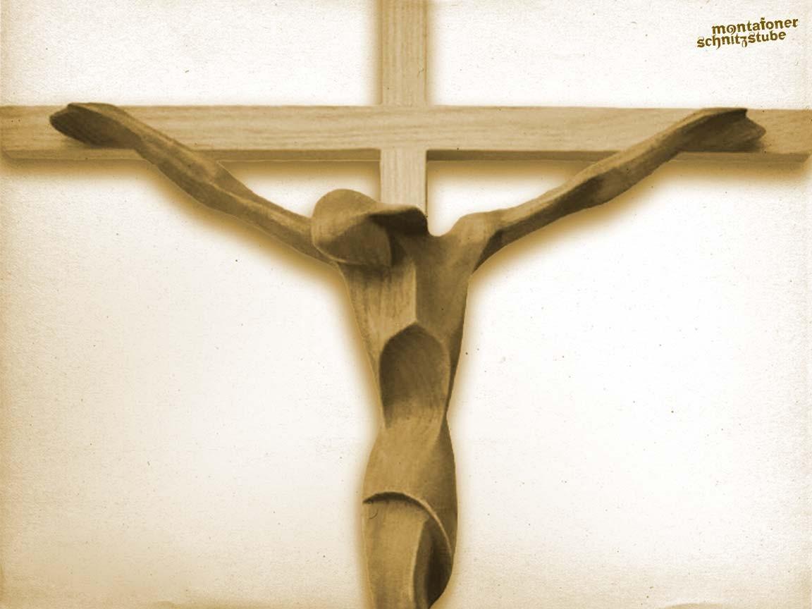 abstrahiertes Kruzifix, Holz, gebeizt