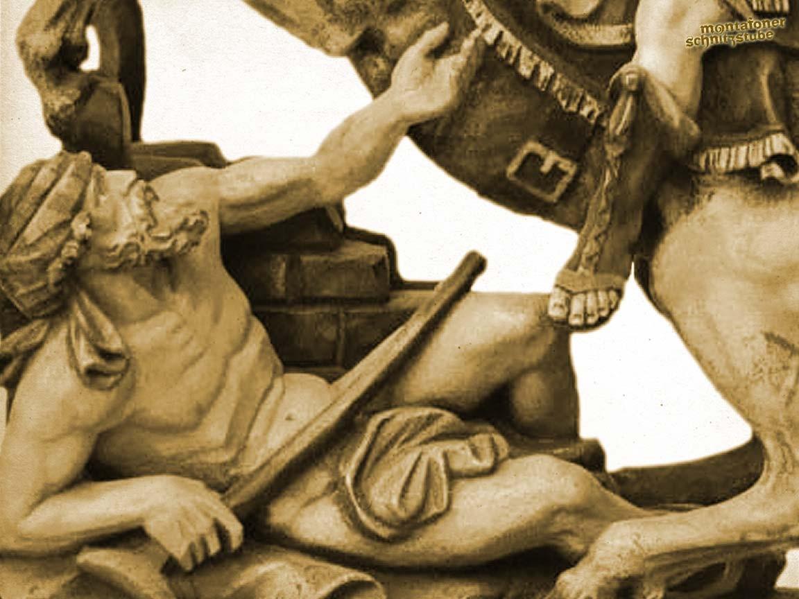 Bettler zum Heiligen Martin aufblickend, gefasst, patiniert