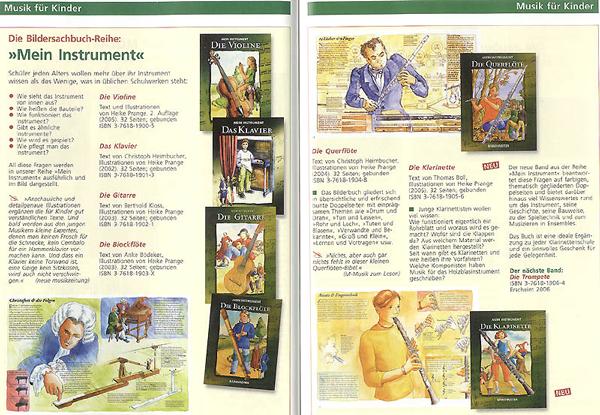 """Katalog-Seite vom Bärenreiter mit der ganzen Serie """"Mein Instrument"""": Violine, Klavier, Blockflöte, Klarinette, Gitarre, Querflöte und Trompete"""