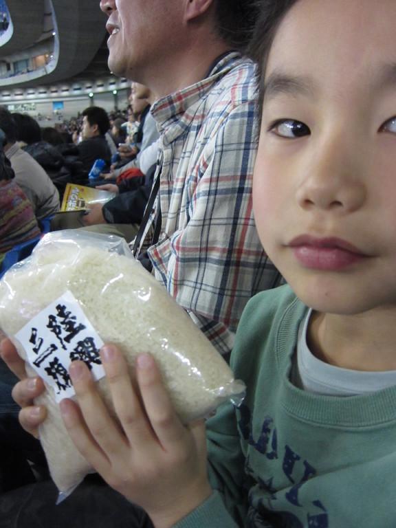 観客の中から抽選でお米が当たった!!嬉しい