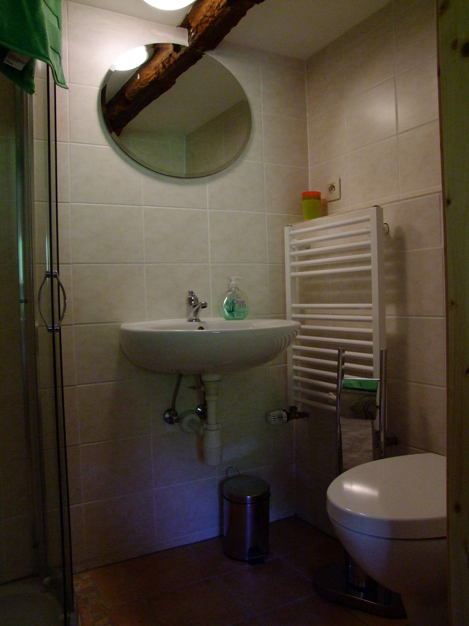 Das obere Appartement: Bad, Dusche und WC