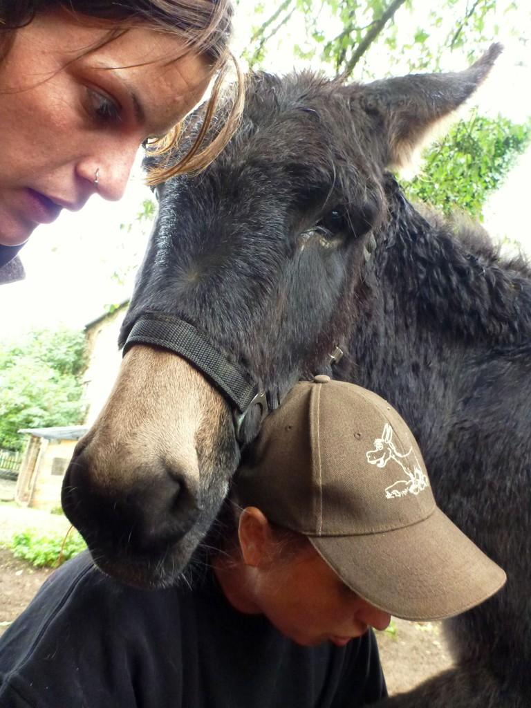 Judith Schmidt raspelt Eselhufe und erklärt, worauf es bei einem gesunden Huf ankommt. Foto: Brigitte Manser